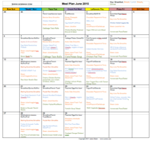 June 2015 Meal Plan